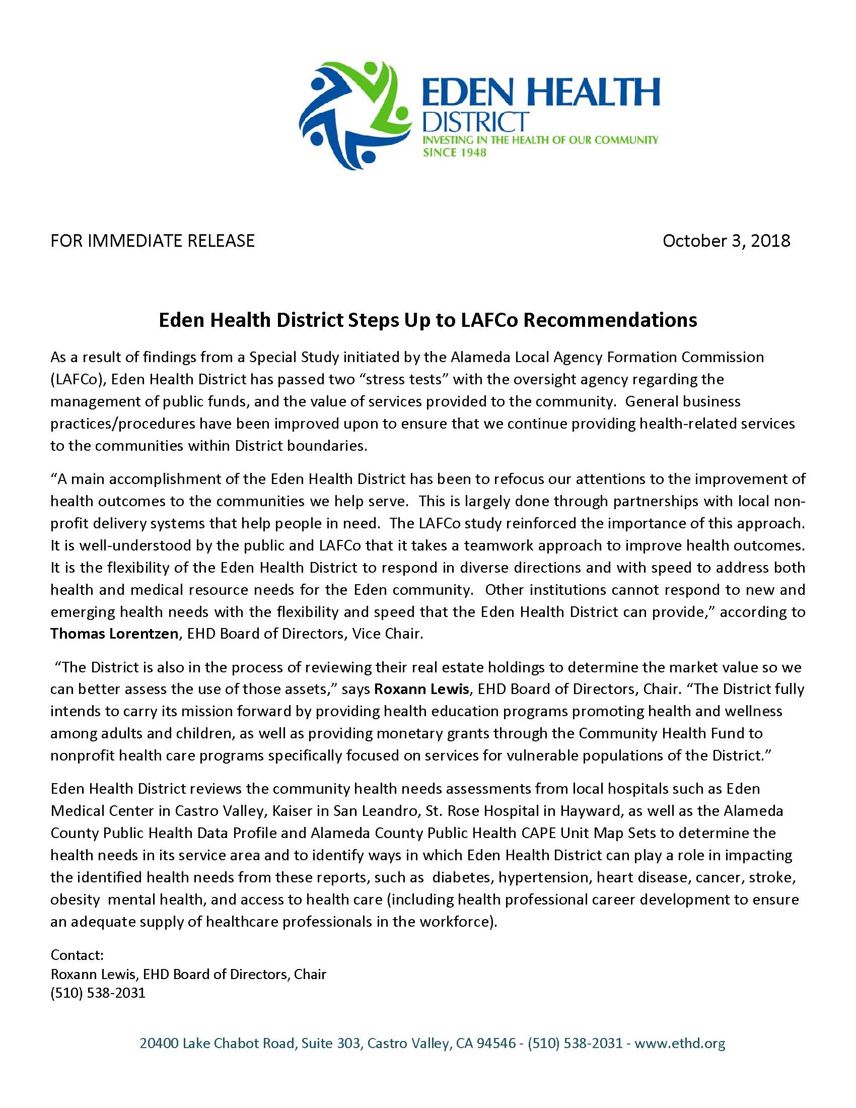 Eden Health District » Press Release – Eden Health District